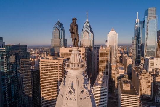 Statue of William Penn. Philadelphia City Hall. William Penn is a bronze statue by Alexander Milne Calder