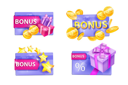 Customer loyalty program, vector gift card illustration set isolated on white, present box, stars, gold coins. Client online reward, web shopping bonus points concept. Loyalty program sale collection