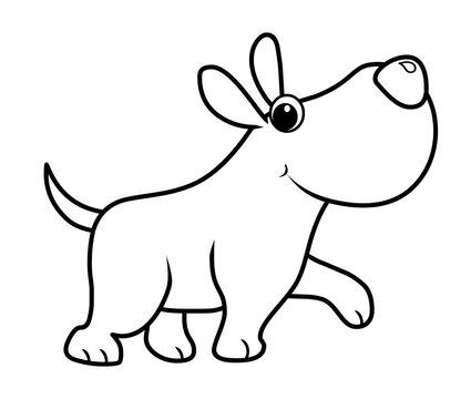 Cartoon dog walking coloring page