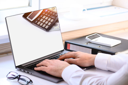 . Accounting courses. On the table there is a computer and a folder with business papers. Online learning