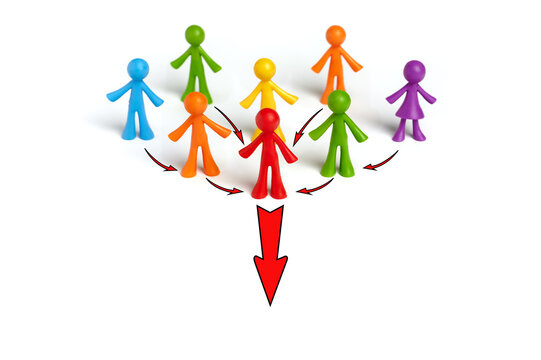 . The concept of a business team leader indicates the direction of movement towards the goal. A group of people are ready to follow their leader.