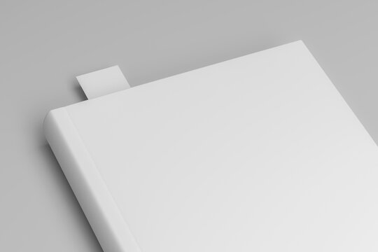 White book and bookmark mockup 3d render