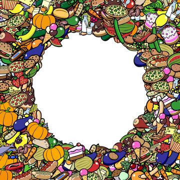 Viele bunte Lebensmittel als Rahmen Hintergrund
