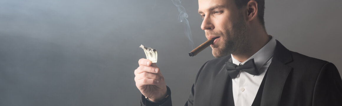 successful businessman smoking cigar and holding burned dollar banknote on grey background with smoke, banner