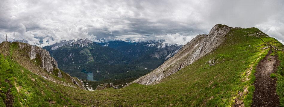 Panorama view Grubigstein mountain in Tyrol, Austria