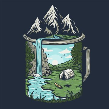 Nature camping landscape print. Outdoor terrain with mountain, waterfall in mug for t-shirt design. Beautiful adventure, wanderlust or explore