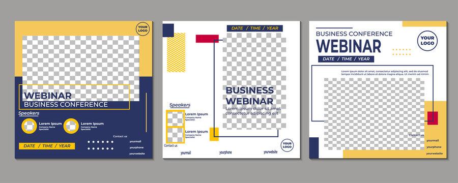 Set of creative webinar social media post templates. Suitable for online marketing promotion banner, webinar, seminar, flyer, ads, etc.
