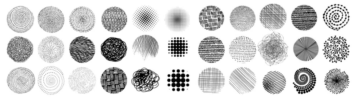 Set of abstract vector halftone stains. Black blots made of round particles. Modern illustration with dark, murky spots. Splattered array of dots. Gradation of tone. Elements of design.