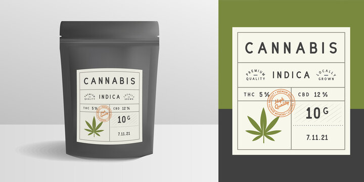 Cannabis zip package, pouch mockup. Vintage trendy label, sticker template. Marijuana zip package design. Zipper mockup template for logo, brand, sticker, label. Vector illustration