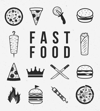 Fast food icons set. Set of 14 fast food icons. Kebab, Burger, Pizza, Hamburger, Shawarma icons. Trendy vintage hipster design. Design elements to create your own design. Vector illustration