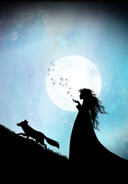Indian woman with fox silhouette art