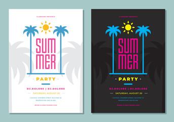 Fototapeta Summer party poster or flyer design template modern clean style. obraz