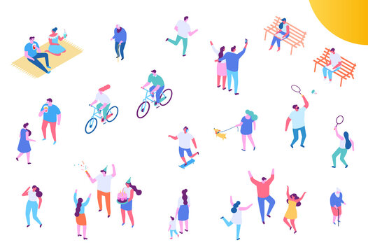 People leisure and outdoor activity. City park isometry icons of people sitting on bench, playing and reading book vector isometric isolated elements.