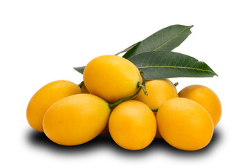 Fototapete - Pile of ripe Marian Plum with leaves on white background with clipping path. Freshly harvested ripe sweet yellow marian plum fruit heap on white.