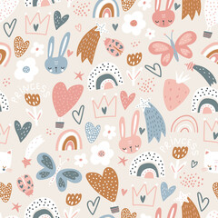 Seamless pattern with bunny , cat faces, hearts, crowns and rainbows. Creative childish texture. Great for fabric, textile Vector Illustration