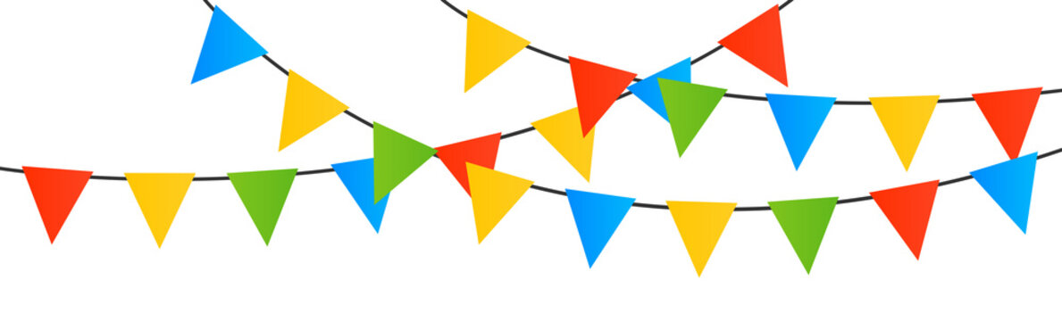 Multicolored bright buntings garlands vector background