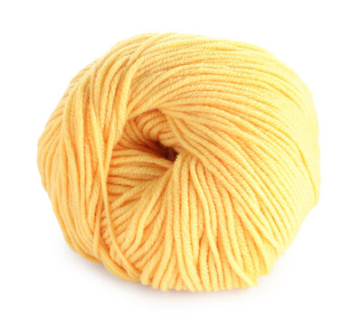 Soft yellow woolen yarn isolated on white