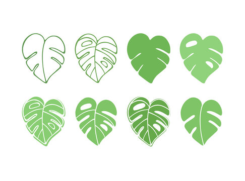Monstera Leaf Green Silhouette Vector Icon Drawing.Tropical exotic outline isolated stencil leaves set.Posters,Cards,Photo,Overlay, Print,Vinyl wall sticker decal.Plotter laser cutting cut.Decoration.
