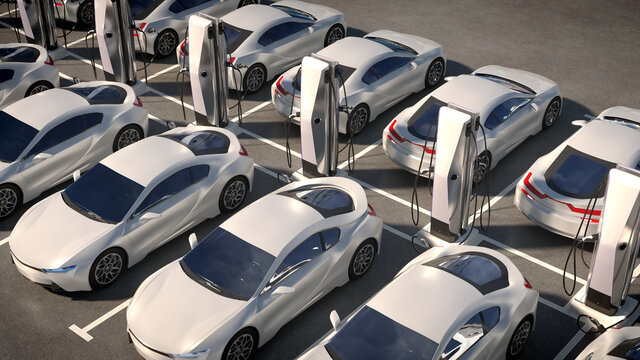 Parking electric cars. Charging stations, fast charging cars. 3d illustration