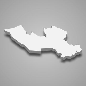 3d isometric map of Long An Province of Vietnam