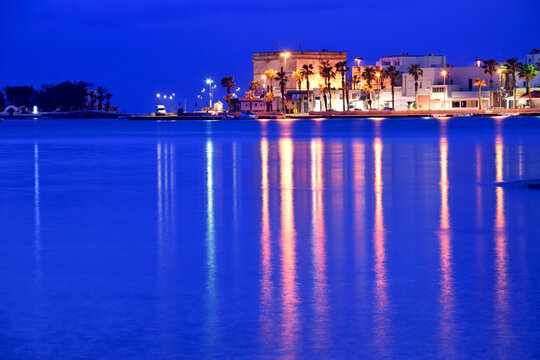 Scene after dusk in Porto Cesareo, Italy