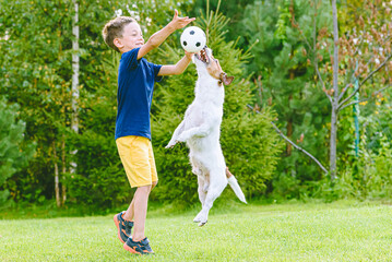 Kid boy exercise his dog outside with small football ball