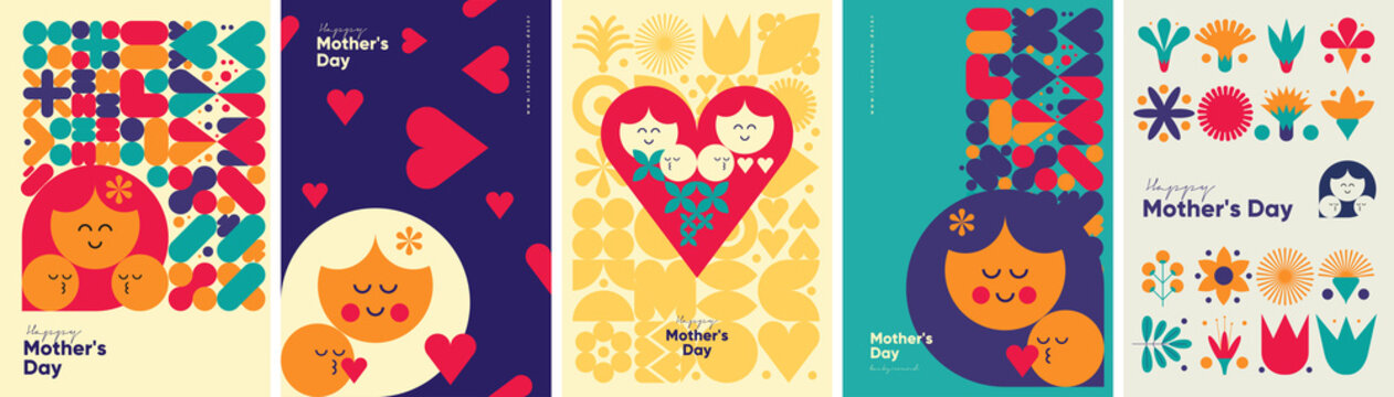 Mother's day. Set of vector illustrations. Abstract backgrounds, patterns, mother's day cards. Cover, poster, wallpaper. Minimalistic retro postcards.