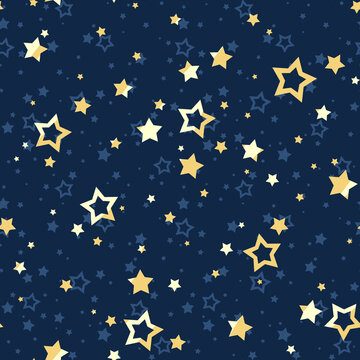 Vector seamless pattern with yellow stars on a dark blue background.