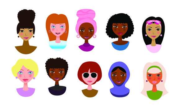 Avatars of women and girls, multiculturalism. People of different cultures and peoples. Vector illustration.