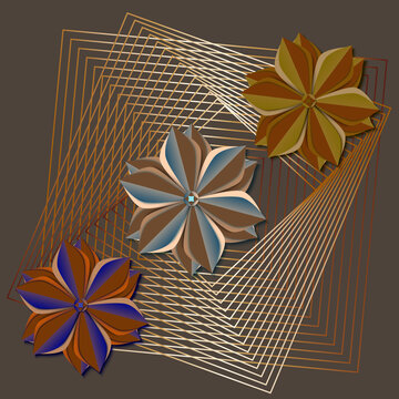 Square vector background with abstract flowers in cut paper style. Poster in gold and brown tones with linear transitions.