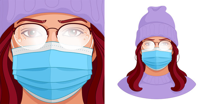 Foggy glasses and face mask. Vector portrait of young woman who has to endure the fogging up of her eyeglasses while wearing a medical mask. Annoying condensation on the lenses during COVID lockdown.