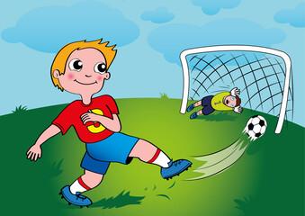 Fototapeta Chłopczyk strzelił gola do bramki, trybuny szaleją, Mecz piłkarski, Gol do bramki, Bramkarz broni w bramce, Strzał piłką do bramki, Zwycięski punkt dla drużyny footballowej obraz