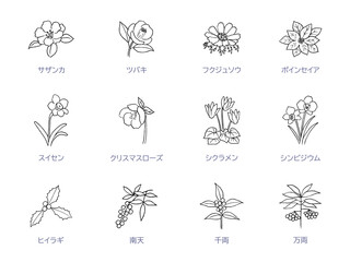 Fototapeta 冬の花線画アイコンセット