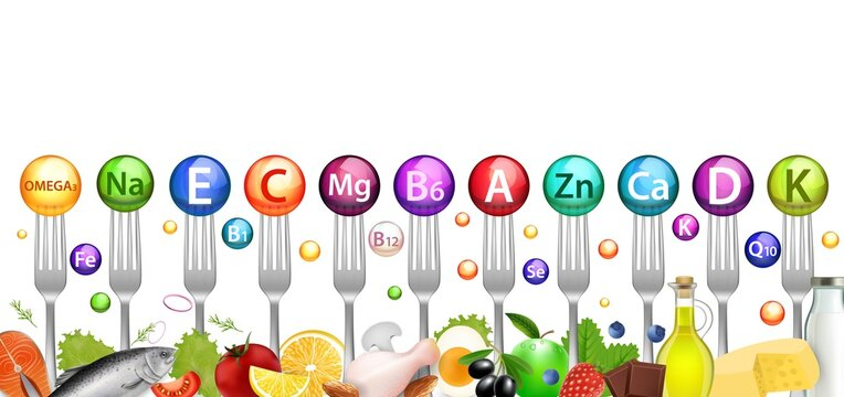 Vitamin mineral balls and foods rich in vitamins, vector illustration. Healthy nutrition, diet, natural food supplements