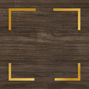 Gold square frame on a wooden background