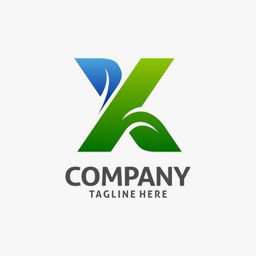 Letter X leaf logo design