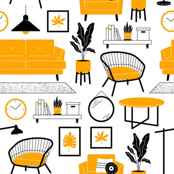 Living room furniture seamless pattern. Sofa, armchair, houseplants, objects decoration in simple trendy flat style.