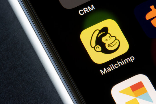 Portland, OR, USA - Mar 30, 2021: Mailchimp app icon is seen on an iPhone. Mailchimp is the all-in-one integrated marketing platform and email marketing service for small businesses.