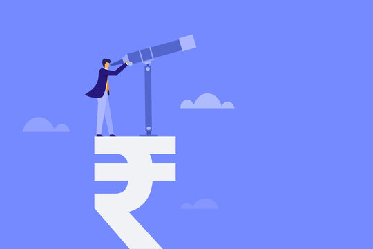 Conceptual illustration of an expert standing on a Rupee symbol and looking through a telescope
