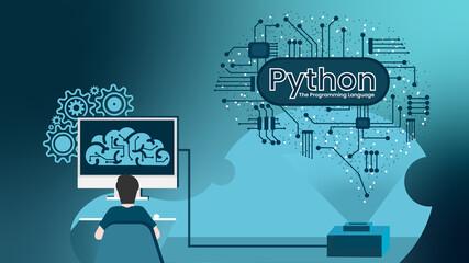 Obraz Python, the Programming Language - fototapety do salonu