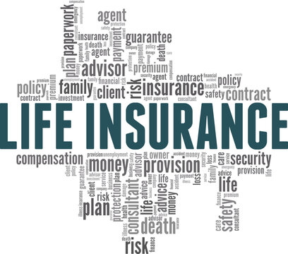 Life insurance vector illustration word cloud isolated on a white background.