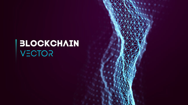 Blockchain technology background. Cryptocurrency fintech block chain network and programming concept. Abstract Segwit.