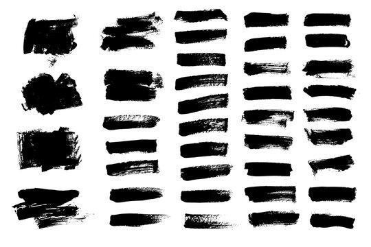 Vector set black paint brush strock. Text boxes for banner.