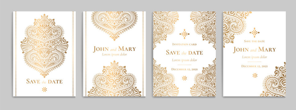 White invitation card with luxury golden pattern design on a white background. Vintage ornament template. Can be used for flyer, wallpaper, packaging or any desired idea. Elegant vector elements.