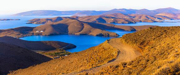 wonderful nature scenery of Greece. Astypalea (Astipalaia) island . Golden hills over sunset