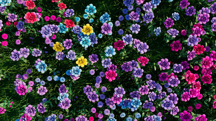 Multicolored Flower Background. Floral Wallpaper with Pink, Purple and Blue Roses. 3D Render Wall mural