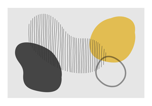 Minimalist design wall art with abstract organic shapes composition