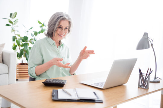 Profile portrait of positive lady sit behind desktop look laptop hands explain speak have good mood indoors