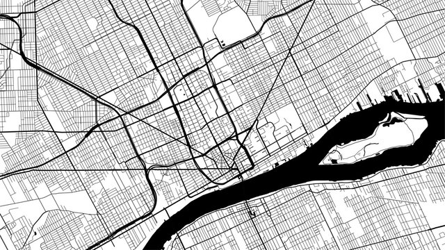 Black and white vector background map, Detroit city area streets and water cartography illustration.