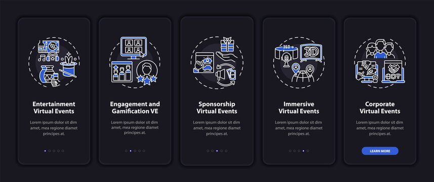 Remote gatherings types onboarding mobile app page screen with concepts. Corporate events walkthrough 5 steps graphic instructions. UI, UX, GUI vector template with linear night mode illustrations